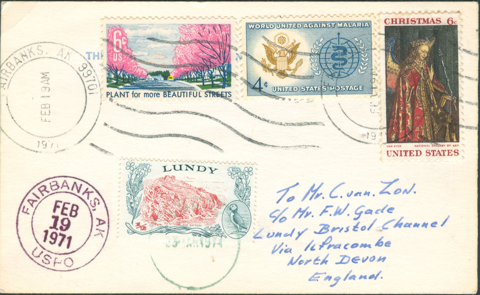 1971, February 19th, Fairbanks, AK to Lundy (Overpaid by 1¢)
