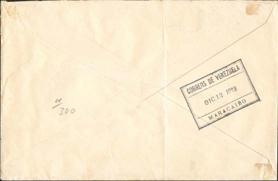 Incoming Venezuela Cover with Malaria Cachet - Back