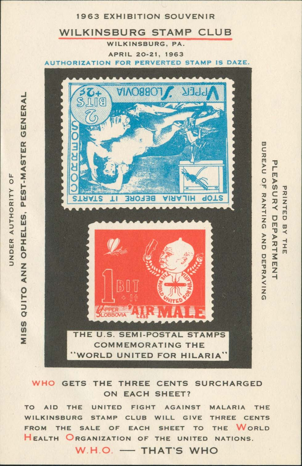 Hilaria Souvenir Sheet<br />Inverted Blue Stamp on Stamp