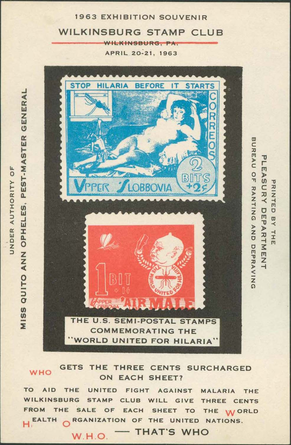 Wilkinsburg Stamp Club Souvenir Sheet<br />Red Shifted Down .16 Centimeters