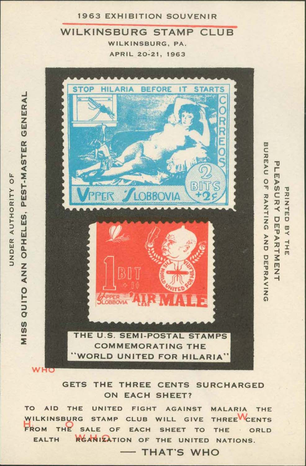 Wilkinsburg Stamp Club Souvenir Sheet<br />Red Shifted Up .27 Centimeters And Crocked.