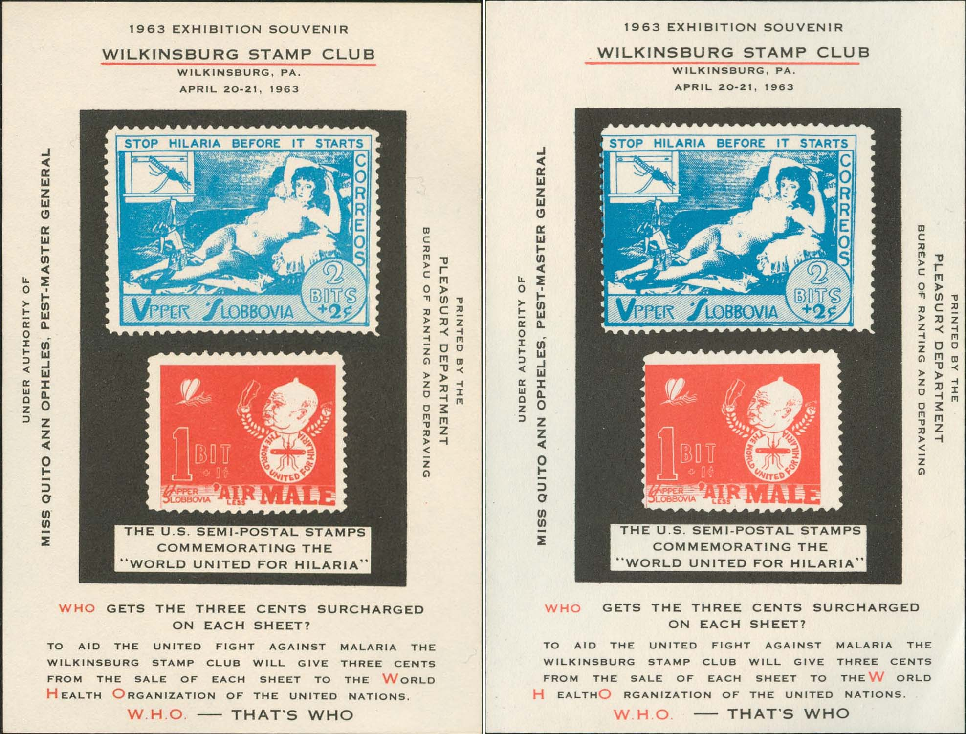 "Wilkinsburg Stamp Club Souvenir Sheet - Normal And ""Red/Blue Shifted Left"" Side By Side Comparison"