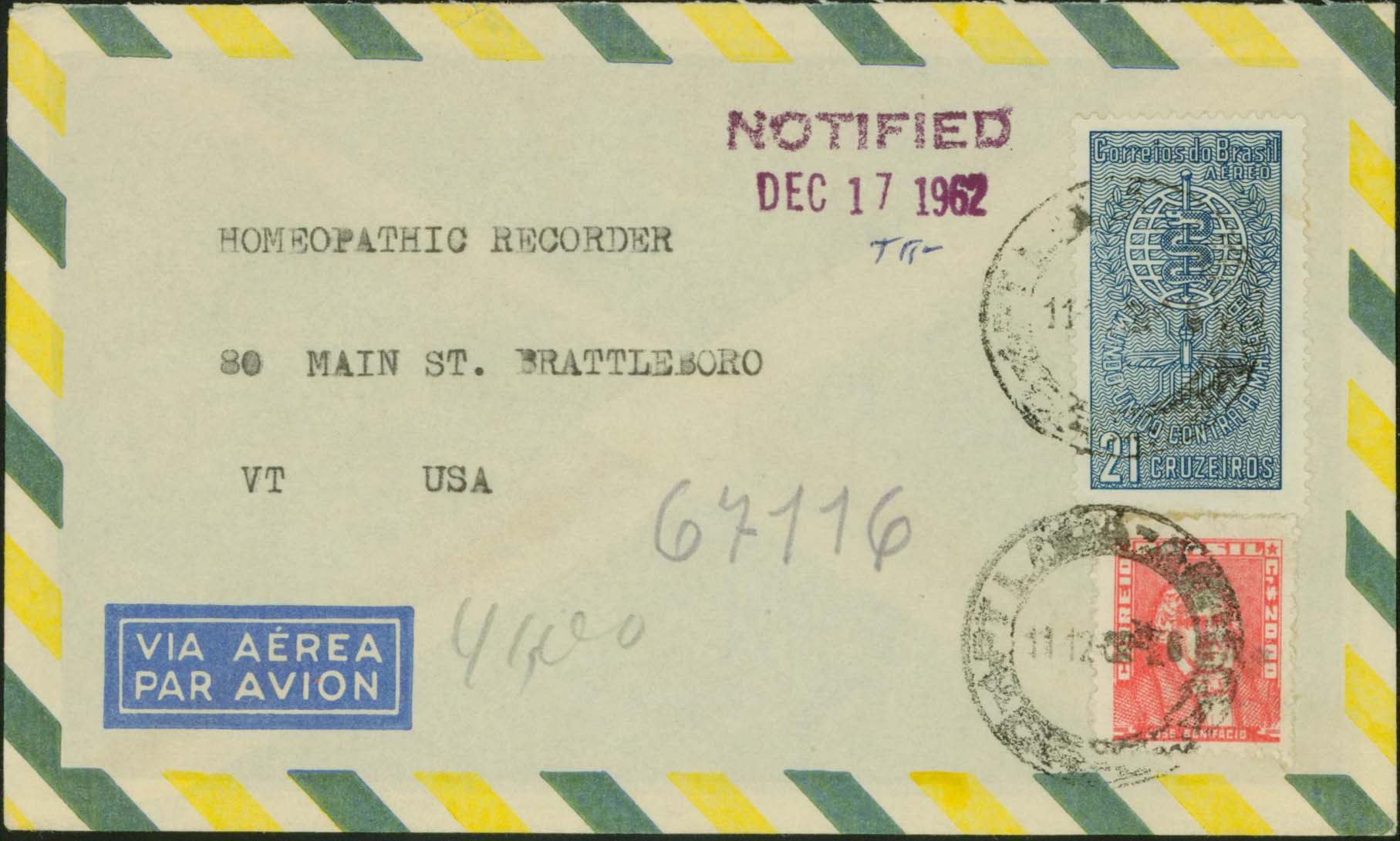 Brazil - Scott 106 - 1962/12/11 to the United States (w/ Notified marking)
