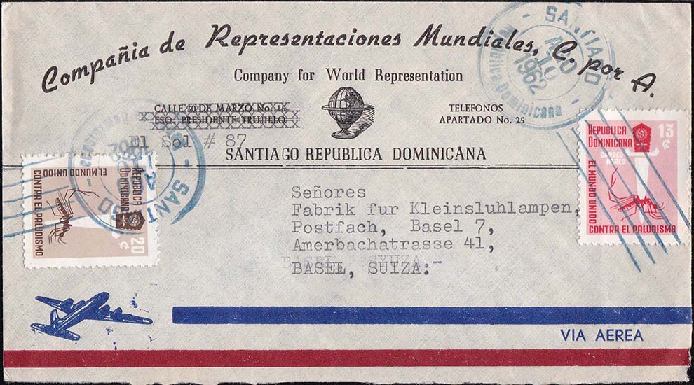 Dominican Republic Scott 559 and C120 on Commercial Cover 08/10/1962