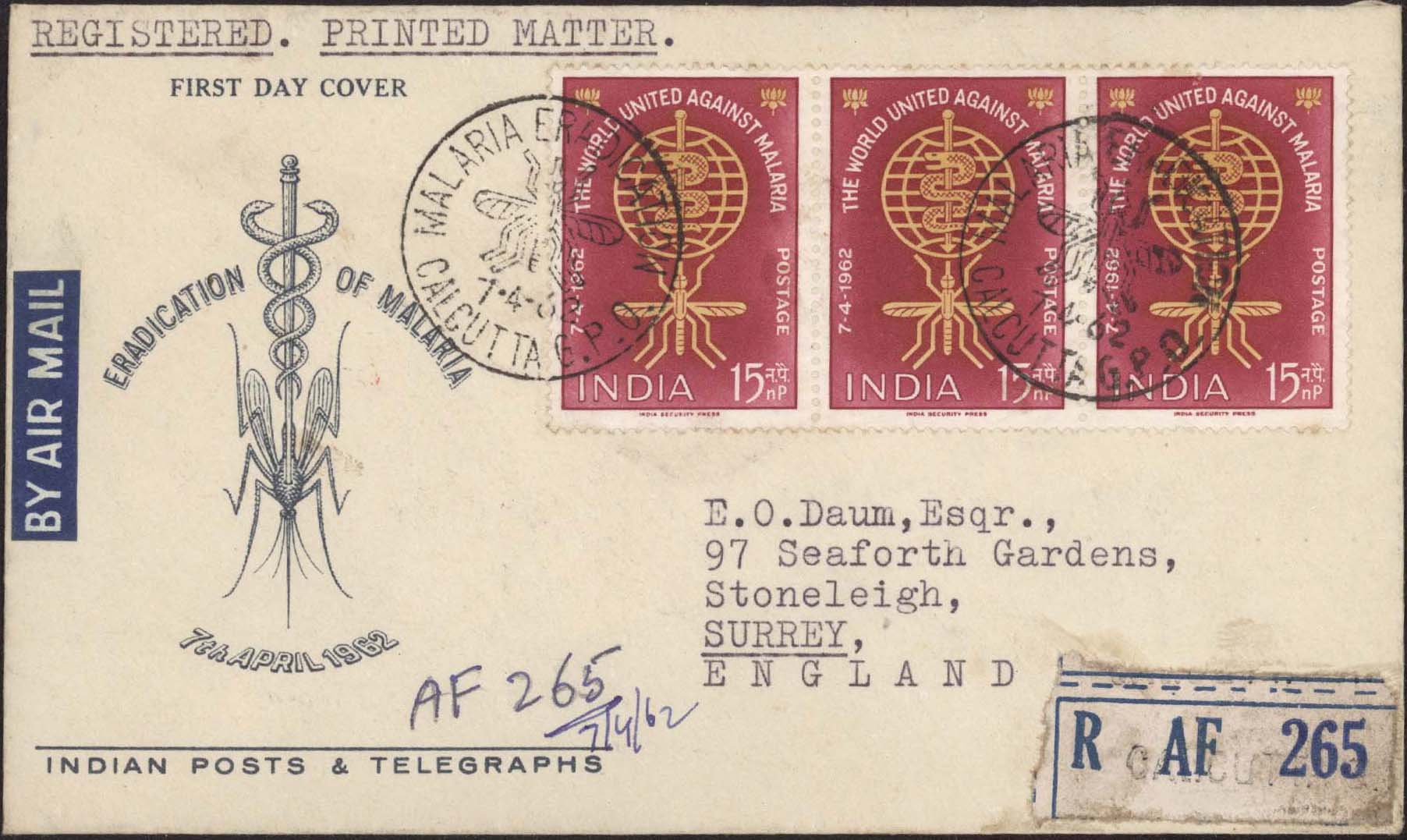 India Scott 356 FDC Registered to England - Front