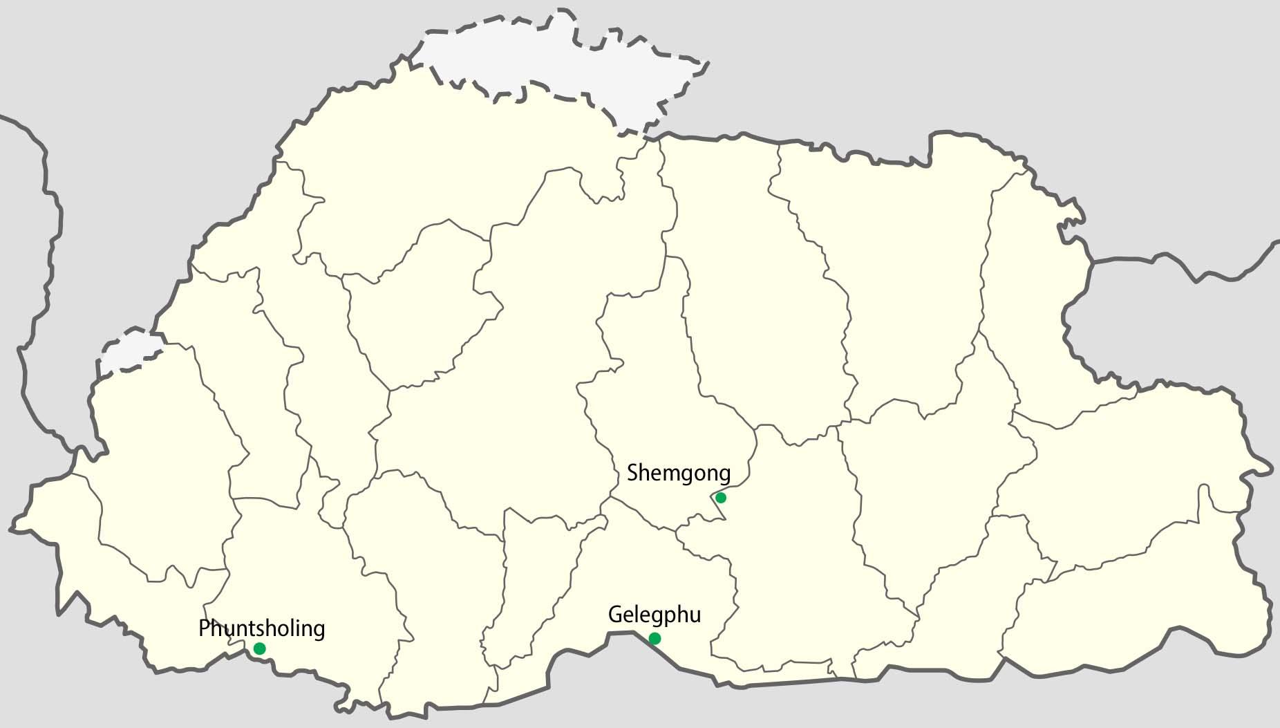 Bhutan Postmark Map