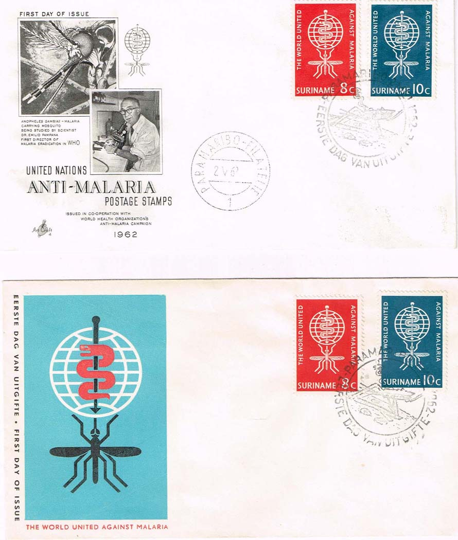 Two Surinam Malaria FDCs - Auction Item 201186581111
